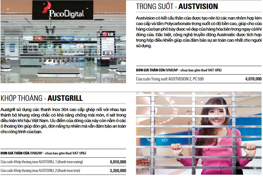 Cửa cuốn trong suốt Austvision, khớp thoáng Austgrill